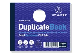 Challenge (105mm x 130mm) 100 Sheets Side Taped Perforated Ruled Duplicate Book (Blue)