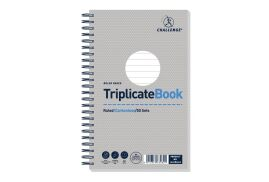 Challenge (210mm x 130mm) 50 Sheets Wirebound Ruled Perforated Triplicate Book (Grey)
