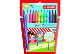 STABILO Power Extra Long Lasting Felt Pen (Assorted Colours) Pack of 12