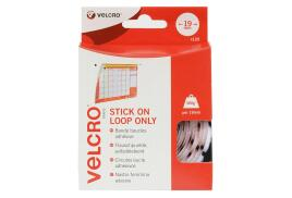 VELCRO? Brand VELCRO Brand (19mm) Stick On Hook Only Coins White (Pack of 125)