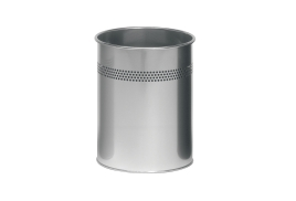 DURABLE (15 Litre) Round Metal Waste Basket with 30mm Perforation Ring (Silver)