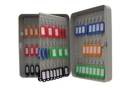 Cathedral Value Key Cabinet with 93 Coloured Key Tags and Numbered Hooks and Lock and Wall Fixings (Grey)