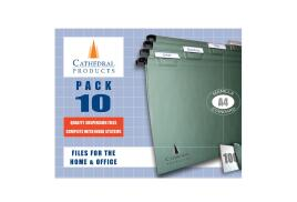 Cathedral Value (A4) Manilla Suspension Files (Green) Including Tabs and Inserts (Pack 10)