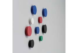 Nobo (20mm) Magnetic Round Marker (Assorted Colours) - Pack of 10 Magnetic Markers