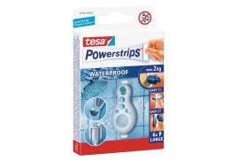 Tesa Powerstrips (max capacity 2kg) Large Waterproof Removable Self Adhesive Strips Pack of 6 Strips