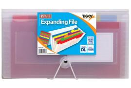 Tiger Stationery Tiger stationery (DL) 7 Part Rainbow Expanding File (Clear) Pack of 6