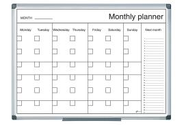 Bi-Office (900 x 600mm) Magnetic Black and White Month Planner (Single)