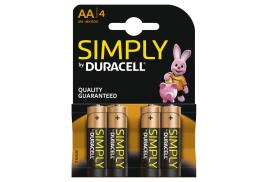 Duracell Simply (AA) Alkaline Batteries (Pack of 4)