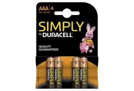 Duracell Simply (AAA) Alkaline Batteries (Pack of 4)