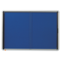 Nobo Internal Fabric Glazed Case (Document Size: 8 x A4) with Lockable Security Sliding Door (Blue) Image