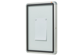 Nobo External Magnetic Glazed Case (Document Size: 4 x A4) with Lockable Security Swing Door (White)