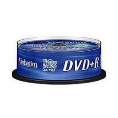 Verbatim DVD+R 4.7GB 16x Matt Silver Spindle - (25 Pack) Image