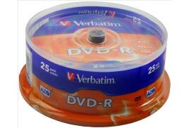 Verbatim (4.7GB) DVD-R 16x Matt Silver Spindle Pack of 25