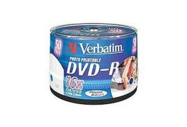 Verbatim (4.7GB) DVD-R 16x Wide Photo Printable Spindle Pack of 50