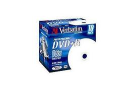 Verbatim DVD+R Recordable Disk Inkjet Printable Write-once Cased 16x 120min 4.7GB (Pack of 10)