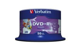 Verbatim DVD+R 4.7GB 16x Wide Photo Printable No ID Brand Spindle - 50 Pack