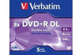 Verbatim DVD+R 8.5GB 8x Double Layer Jewel Case - 5 Pack