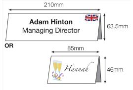 DECadry (85 x 46mm) 200g/m2 Folding Place Cards (White) Pack 132 Cards
