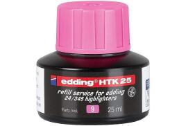 Edding HTK 25 (25ml) Water-Based Refill Ink (Pink) for Highlighter Pens