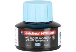 Edding HTK 25 (25ml) Water-Based Refill Ink (Light Blue) for Highlighter Pens