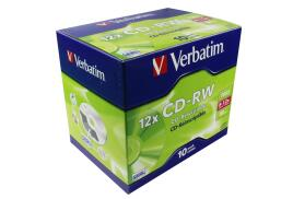 Verbatim (700MB) CD-RW 80 Minute 12x Hi Speed Jewel Case Pack of 10