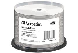 Verbatim (700MB) CD-R DataLife Plus 52x Wide Inkjet Professional No ID Brand Pack of 50