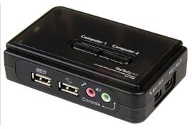StarTech.com 2-Port Black USB KVM Switch Kit with Audio and Cables