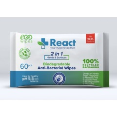 React 2-in-1 Antibacterial Hand and Surfaces Wipes (Pack of 60) Image