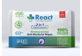 React 2-in-1 Antibacterial Hand and Surfaces Wipes (Pack of 60) - 4 for 3 Offer