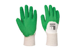 Open Back Latex Glove (Colour: White/Green, Size: XL)