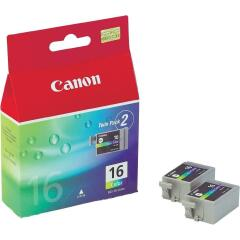 Canon 9818A002 (BCI-16 C) Ink cartridge color, 100 pages @ 5% coverage, 3ml, Pack qty 2 Image