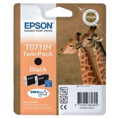 Epson Giraffe T0711H (Yield: 385 Pages) High Yield Black Ink Cartridge Pack of 2 Image