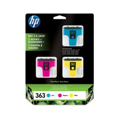 HP 363 (Yield: 400 Cyan/370 Magenta/500 Yellow Pages) Cyan/Magenta/Yellow Ink Cartridge Pack of 3 Image
