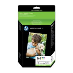 HP 363 (Yield: 410 Black/400 Cyan/370 Magenta/500 Yellow/220 Light Cyan/230 Light Magenta Pages) Ink Cartridge Pack of 6 with (10x15cm) HP Photo Paper Pack of 150 Sheets Image