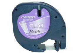 Dymo (12mm) LetraTAG Plastic Tape (Black on Clear)