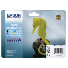 Epson Seahorse T0487 (Yield: 450 Pages) Black/Cyan/Magenta/Yellow/Light Cyan/Light Magenta Ink Cartridge Pack of 6 Image