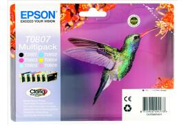 Epson Hummingbird T0807 (Yield: 300 Black/900 Cyan/440 Magenta/460 Yellow/345 Light Cyan/590 Light Magenta Pages) Black/Cyan/Magenta/Yellow/Light Cyan/Light Magenta Ink Cartridge Pack of 6