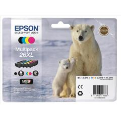 Epson Polar Bear 26XL (Yield: 500 Black/700 Colour Pages) Black/Cyan/Magenta/Yellow Ink Cartridge Pack of 4 Image