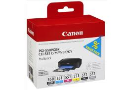 Canon PGI-550/CLI-551 (376 Photo Black/300 Black/121 Cyan/132 Magenta/130 Yellow/125 Grey Photos) Photo Black/Black/Cyan/Yellow/Magenta/Grey Ink Cartridge Pack of 6