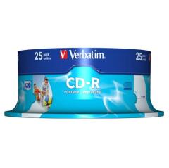 Verbatim CD-R 700MB 52x 80min AZO Wide Inkjet Printable (25 Pack Spindle) Image